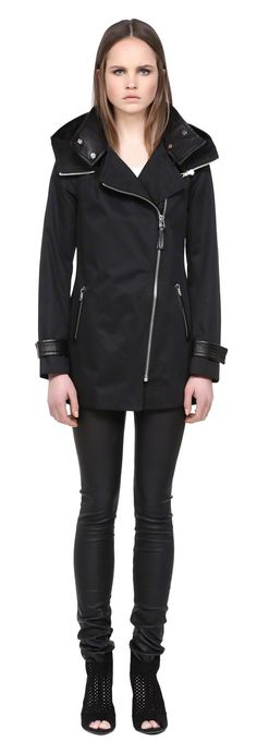 MACKAgE DARIA BLACK SPRING TRENCH COAT FOR WOMEN WITH LEATHER COLLAR AND HOOD #mackage #trench