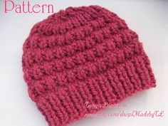 Instant Download Thick & Quick Bulky Hat PDF Pattern. by MadebyTL, $1.99