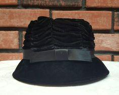 Vintage 1950's Woman's Hat Vintage Velvet Hat Bow by VintageMason