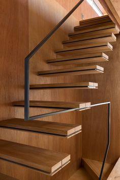 stair to open 'loft' - cantilever treads + minimal guarding - new-build, minimalist NORD house - Tokyo, Japan - APOLLO Associates