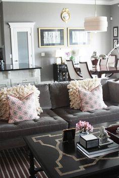 Lots to love - the black matting, the black chest, the sofa . . . via Marcus Design