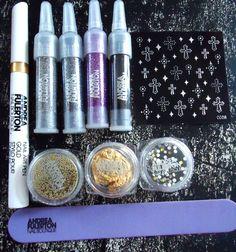 Jusqu'au 16/02 !!! 3 Kits Nails Art ANDREA FULERTON : paillettes, strass, water decals, ... !!!