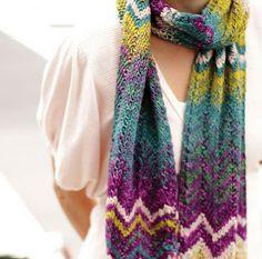 NobleKnits Knitting Blog: Chevron Stripes Scarf Free Knitting Pattern