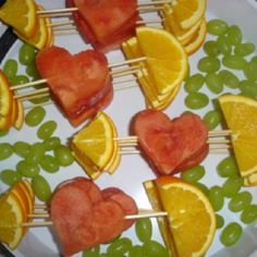 Valentines Day Healthy Heart Snack....may use a heart shaped strawberry instead of watermelon