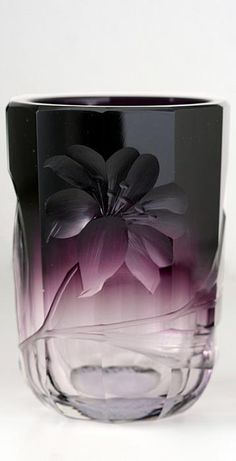 C.1905 Moser Karlsbad Art Nouveau Intaglio Engraved, Amethyst Beaker Vase
