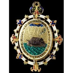 The Heneage Jewel, c.1595, incorporates 'a boat sailing peacefully on stormy seas which is intended to represent the Church of England, steered by Elizabeth [I], weathering religious turmoil'. (Victoria & Albert Museum)
