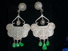Antique Jade & Sterling Silver Chinese Chandelier Earrings * Bats