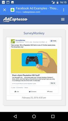 Take Surveys, Ads, Facebook