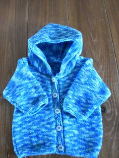 Baby Cardigan Hoodie Blue Hand Knitted by AlfieJayne on Etsy, €40.00