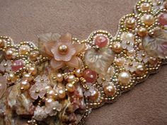 Necklace Bead Embroidery made from pearls, Rhodochrosite, Agate, color gold plated beads and 14K gold filled findings EBEG. €275.00, via Etsy.