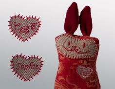 VALENTINE SPECIAL Little Bunny with hand embroidered by Renattoni, $22.00
