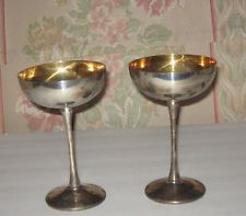 godinger silver goblets   Pair of Vintage Silverplate Champagne Wine Goblets by Leonard Italy