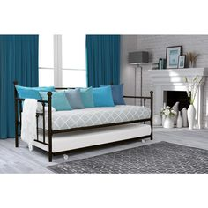 DHP White Manila Full Size Metal Daybed and Twin Size Trundle (Full size daybed with twin trundle), Kids Unisex Daybed With Trundle, Full Size Daybed, Bed, Daybed, Furniture, Twin Mattress Size, Home Decor, Room, Trundle Bed