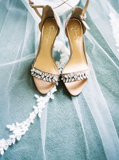 Nude-colored heels with statement beading. Maggie Bride Grace wore Paulina at her Goldsboro, NC wedding