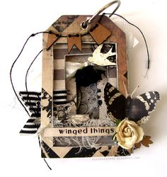 by DeeDee Catron: Nature Walk + Tunnel Tag Book using Grosgrain, Burlap Twine and Crinkled ribbon by May Arts Ribbon, chipboard from UmWowStudio, Stamps by Viva Las VegaStamps!, Nature Walk from 7 Dots Studio and more.