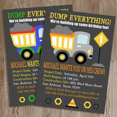Dump Truck Birthday Party Invitation - DIY Printable Invitation #construction #birthday #dumptruck #dump #truck #firstbirthday #first #birthday