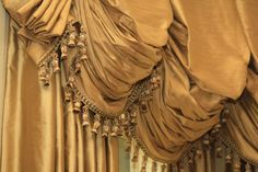 trimmed ballon shade over matching drapery-to die for window treatments