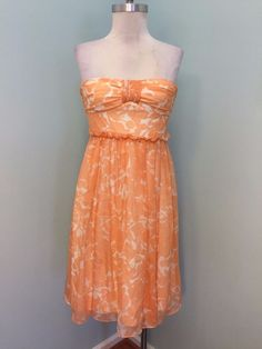 J Crew 4 Silk Cocktail Party Strapless Dress Peach Ivory Floral Excellent #JCrew #TeaDress #Cocktail