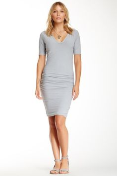 V-Neck Ruched Dress by James Perse