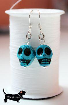 Teal Howlite Skull Bead Earrings. $10.00, via Etsy.