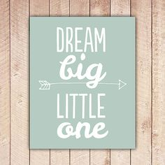 Nursery Printable, Dream Big Little One, Nursery Art, Mint Green Nursery Decor, Instant Download, Black and White DBLO