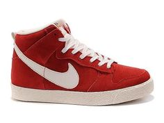 Nike Dunk High AC VNTG Varsity Red Sail,Style code:398263-601,It sports a red suede upper with white tongue, lace, swoosh and sole. The autoclave technology was used in sole which will make the shoe much more durable and lightweight. The stained tongue can be also found that reflects the old-fashioned look of the sneaker.
