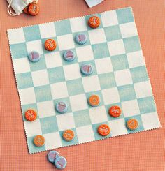 Canvas Checkerboard Kids who learn how to play checkers will always have something to do on a rainy day. Kids who make their own portable checkerboard will have a game to play almost anywhere. Collect bottle caps in opposing colors (you'll need 12 f