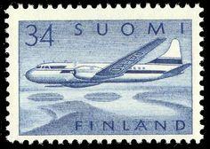 Postage stamp depicting a Finnish Convair Metropolitan aircraft