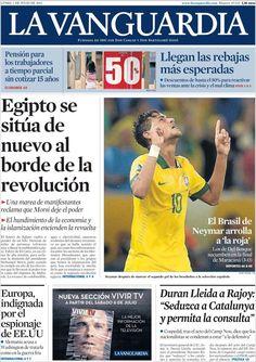 Los Titulares y Portadas de Noticias Destacadas Españolas del 1 de Julio de 2013 del Diario La Vanguardia ¿Que le parecio esta Portada de este Diario Español?