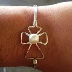 Wire Wrapped Side Ways Cross Bracelet