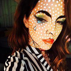Totally fun and unique Roy Lichtenstein inspired costume makeup and face paint. Pop art cartoon style. Modeled by Lisa Tufano of thinklikeabosslady.com | #popart #roylichtenstein #facepaint #bodyart #specialfx #makeup #halloween #halloweencostume #uniquehalloweencostumes
