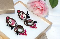 Japanese porcelain bead embroidery soutache earrings medium long gift for her #soutache #JapaneseCherries #SoutacheEarrigs #BeadEmbroidered #PartyJewelry #AnniversaryJewelry #BeadEmbroidery #geisha #japanese