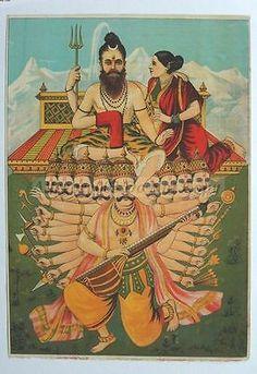 India Ravi Varma Lithograph RAVANA SHAKES KAILASH HILLS Shiva 37940