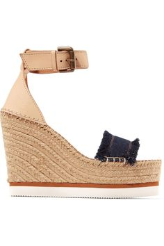 Wedge heel measures approximately 5 inches with a 2 inch platform Brown leather, blue denim Buckle-fastening ankle strap Imported Ankle Strap Heels, Ankle Straps, Wedge Sandals, Espadrille Wedge, Summer Sandals, Heeled Sandals, Best Water Shoes, Kayak Accessories