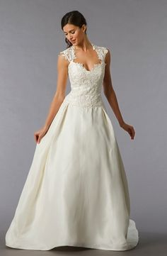 Sweetheart A-Line Wedding Dress  with Dropped Waist in Silk Taffeta. Bridal Gown Style Number:32802381