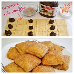 Recipe: Easy Nutella Breakfast Pockets - crescent roll dough filled with Nutella, dipped in cinnamon sugar, and baked