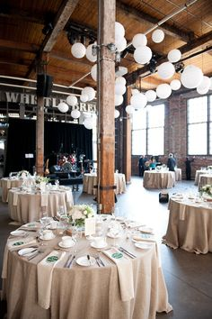 Toronto Wedding at Steam Whistle Brewing by The Wedding Planners – Style Me Pretty Burlap Tablecloth, Wedding Tablecloths, Wedding Table Linens, Wedding Table Settings, White Tablecloth, Bridal Table, White Napkins, Wedding Napkins, Ideas