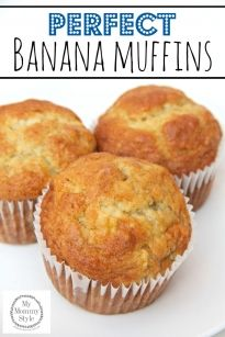 Perfect Banana Muffins {with video} Perfect Banana Muffins {with video} These are the perfect banana muffins! They are bursting with flavor and they are so easy to make.<br> The perfect banana muffin! Muffins Blueberry, Mini Muffins, Moist Banana Muffins, Banana Muffins Applesauce, Banana Almond Flour Muffins, Best Banana Muffins Ever, Best Banana Muffin Recipe, Banana Bread Cupcakes, Cake Mix Muffins