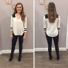 This basic top is already flying out of the store! - $20 #newarrival #fall #fallfashion #obsessed #aldm #apricotlanedesmoines #apricotlane #valleywestmall #boutique #shoplocal #musthave #apricotlaneboutique #shopaldm #ootd