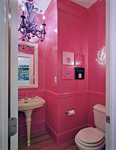I don't know if the cupcake wall art is appropriate for a bathroom.... But I LOVE the PINK :)....-Ang