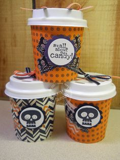 Candy Coffee Cup Treats Happy Halloween to You | laurazstamps.com
