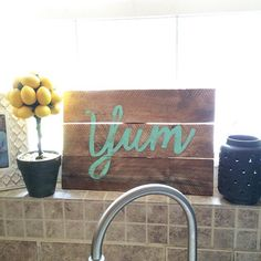 Reclaimed Wood Sign - Wood Yum Sign - Wood Wall Art - Home Decor - Rustic Home Decor Sign - Kitchen decor - Kitchen Sign by TaggedWithLove1 on Etsy https://www.etsy.com/listing/233434774/reclaimed-wood-sign-wood-yum-sign-wood