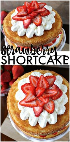 Strawberry Shortcake Cake is a rustic vanilla layer cake filled with a whipped cream cheese frosting and fresh strawberries. Easy, impressive, and SO good! | www.persnicketyplates.com #cake #strawberry #easycake #dessert #easter