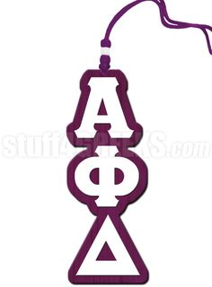White and purple Alpha Phi Delta Greek letter tiki necklace.
