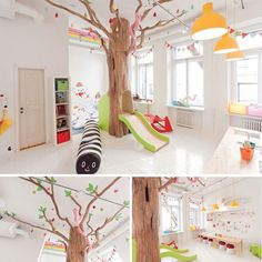 The ultimate kids playroom – complete with its very own tree slide! Found on Little Gatherer | 10 Fun & Friendly Kids Playrooms ~ Tinyme Blog