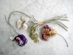 Vintage 1940's millinery flowers 3 pc pansies assorted silk and velvet