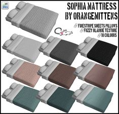 Orangemittens' Sophia Mattress in crisp white and 10 colours to match my recolours of MissTeaQueens Jonesi Blanket Conversions HERE.::YOU NEED THE MESHES FOR THE RECOLOURS TO WORK::Grab the Sophia Mattress HERE if you don't already have it =)::Download::OneDrive/Dropbox/Copy