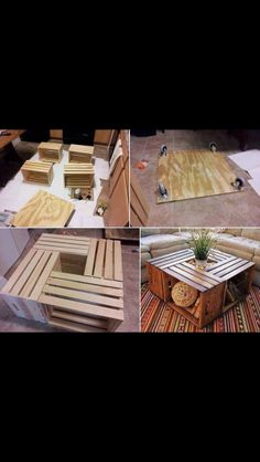 DIY Mobil crate coffee table