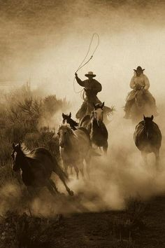 Horses Herded By Cowboy And Cowgirl, Oregon - Sepia by Konrad Wothe