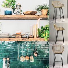 New kitchen tiles backsplash trends Ideas Kitchen Remodel, Kitchen Backsplash, Kitchen Inspirations, Wood Shelves Kitchen, Green Kitchen, Trendy Kitchen Tile, Kitchen Interior, Trendy Kitchen Backsplash, Interior Design Kitchen